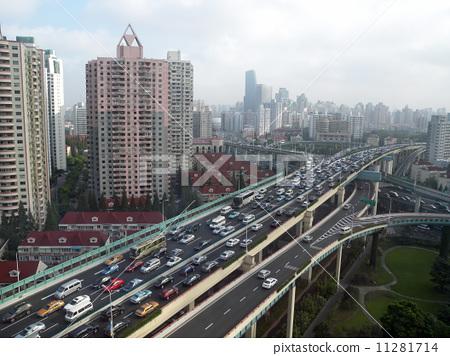 중국 상하이의 교통 체증 11281714