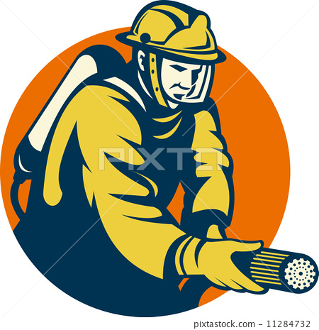 Firefighter or fireman aiming a fire hose 11284732