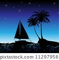 海滩 加勒比海 船 11297956