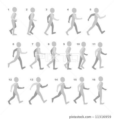 Phases of Step Movements Man in Walking Sequence for Game Animation on white 11316959