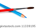 blue pencils and brush for paints 11339195