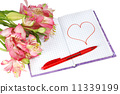 notebook with a pen by flowers and heart 11339199