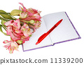 notebook with a pen and flowers 11339200