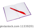 notebook with a red pen 11339201