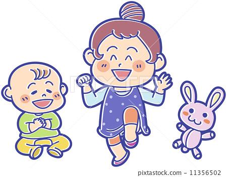 rabbit, little child, vector 11356502
