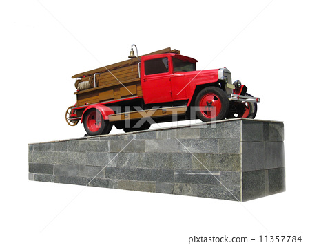 retro fire-engine on the pedestal isolated 11357784