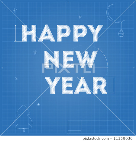 Card of New Year blueprint drawing 11359036