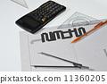 有计算器,三角尺,钢笔的静物 11360205