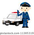 Police car and policeman 11365319