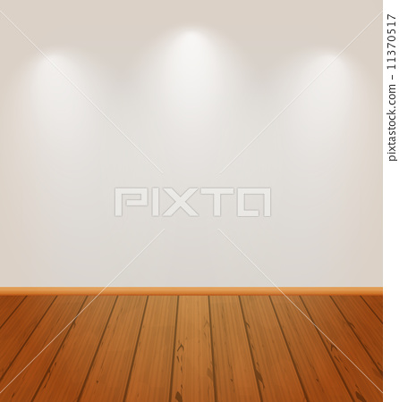 Empty wall with light and wooden floor 11370517