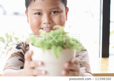 The boy is happy. With small trees. 11398160