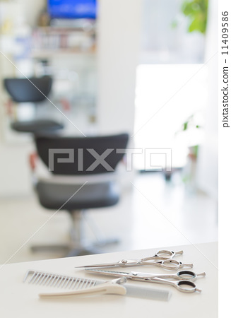Beauty salon image cut scissors and a bright interior 11409586