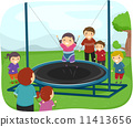 Kids Playing with a Trampoline 11413656