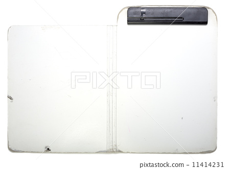 old opened clip board with black clip isolated on white 11414231
