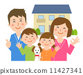 House with dog laughing with family 11427341