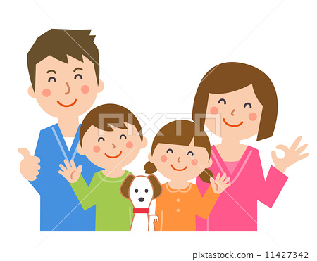 Laugh with a family with a dog 11427342