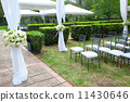 wedding marquee with bouquets of roses 11430646