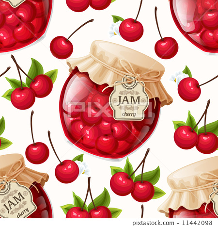 Stock Illustration: Cherry jam seamless pattern