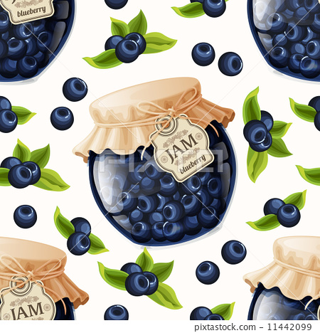 Stock Illustration: Blueberry jam seamless pattern