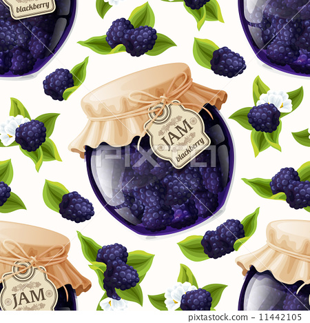 Stock Illustration: Blackberry jam glass
