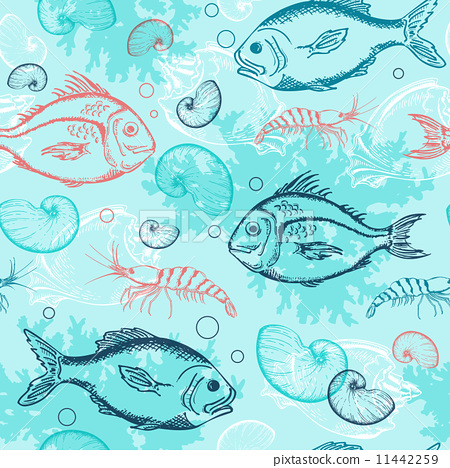 Pattern with tropical fishes 11442259