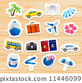 tourism icons on wooden board Vector  11446099