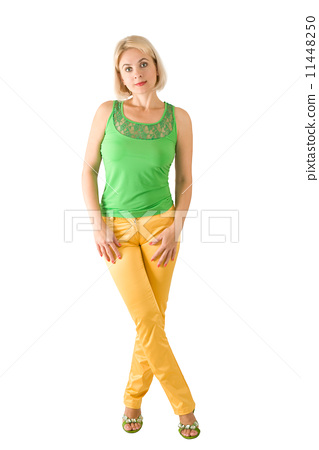 The beautiful woman in a green blouse 11448250