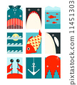 Flat Sea and Fish Rectangular Nautical Set 11451303