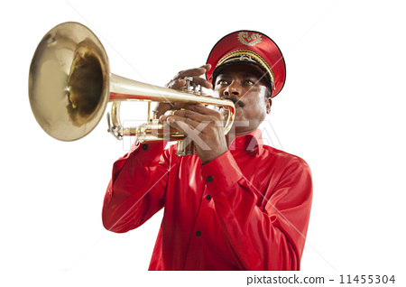 Bandmaster playing on a trumpet 11455304