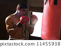 shirtless, punching, bag 11455938