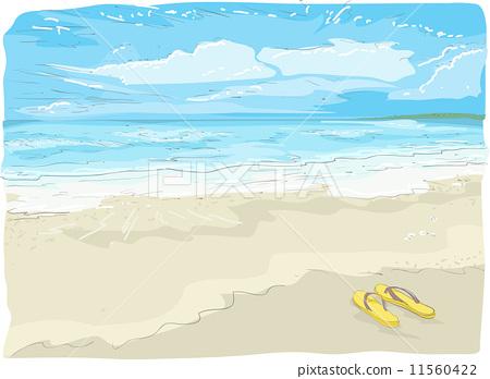 Flipflops on the Beach Sketch 11560422