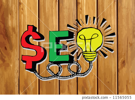 Seo Idea SEO Search Engine Optimization on wood background plank 11565055