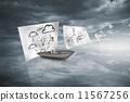 paper, clouds, boat 11567256
