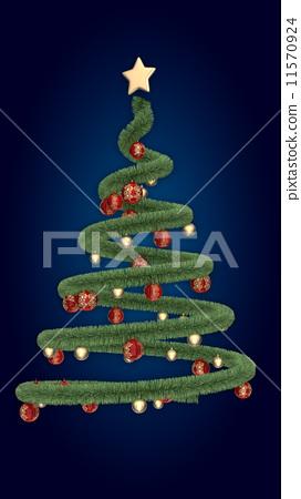 Christmas ribbon tree on blue background 11570924
