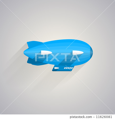 Flat vector icon of blue Zeppelin 11626081