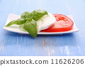 Basil leaf, mozzarella cheese and tomato slice as Italy flag 11626206