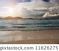 Sunset over the sea in Seychelles with sun 11626275
