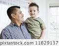 Hispanic father and son hugging 11629137