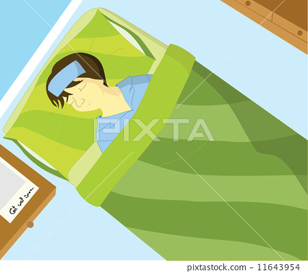 """Sick boy sleep on the bed and message """"Get well soon"""" on table 11643954"""