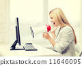 strict businesswoman shouting in megaphone 11646095