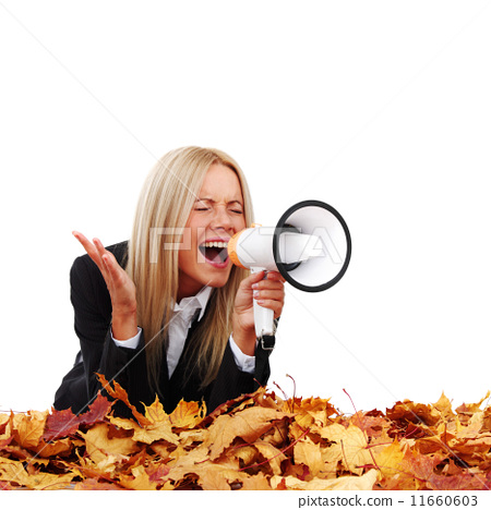 autumn businesswoman with megaphone 11660603