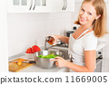 happy woman housewife preparing salad in the kitchen 11669005