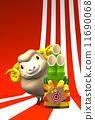 新年的圣诞树装饰 羊年 绵羊 11690068