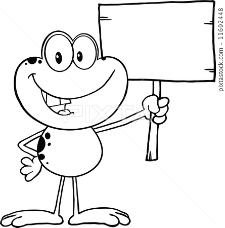 Black And White Cute Frog Cartoon Character Holding Up A Wood Sign 11692448