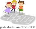 hopscotch, playing, kids 11706831