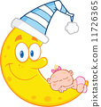 Cute Baby Girl Sleeps On The Smiling Moon With Sleeping Hat 11726365