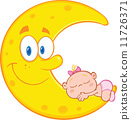 Cute Baby Girl Sleeps On The Smiling Moon  11726371