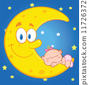 Baby Girl Sleeps On The Smiling Moon Over Blue Sky With Stars 11726372