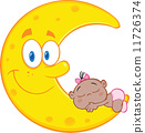 Cute African American Baby Girl Sleeps On The Smiling Moon  11726374