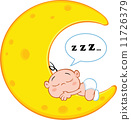 Baby Boy Sleeps On Moon With Speech Bubble 11726379